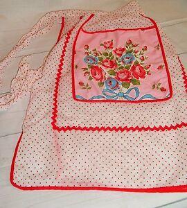 Vtg-Handmade-Apron-Pocket-Farm-Country-Red-Flocked-Sheer-Polka-Dot-With-Flowers