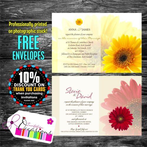WEDDING OR CIVIL PARTNERSHIP INVITATIONS DAY OR EVENING RECEPTION X 5