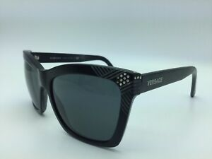 7a40fbb9e43 Image is loading Versace-Black-Square-Gray-Sunglasses-Women-Pre-owned