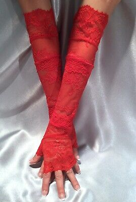 Madame Fantasy XX Long Baby Pink Lace Fingerless Gloves Cuffs Arm Warmers
