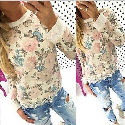 Fashion Women's Long Sleeve Shirt Casual Lace Blouse Loose Cotton Tops T Shirt