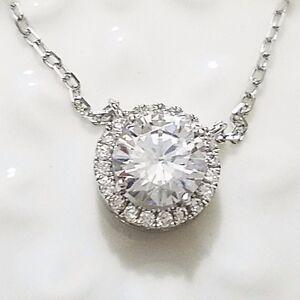 2 ct round diamond halo pendant necklace 14k white gold plated 16 2 ct diamante redondo halo colgante collar 14k aloadofball Choice Image