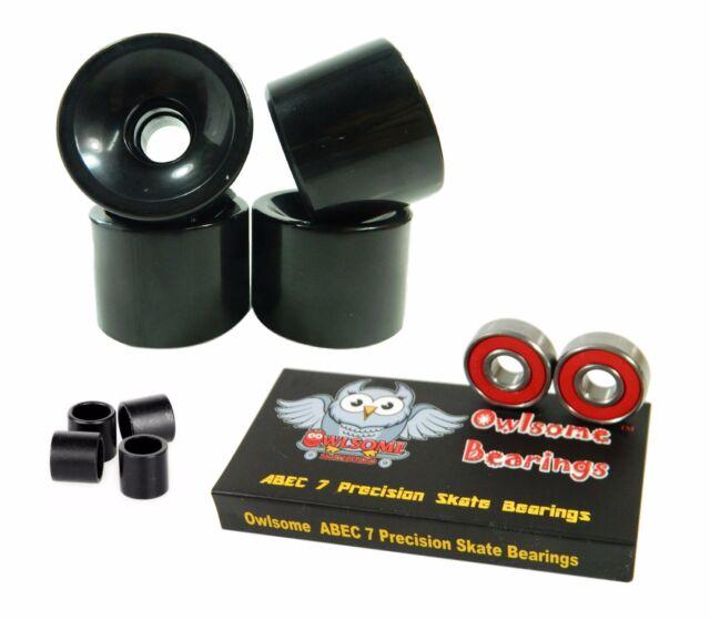 Blank 60mm 82a Black Cruiser Wheels Owlsome Precison ABEC 7 Bearings