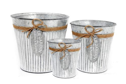 Set 3 Vintage Round Metal Zinc Galvanised Flower Pots Garden Planters Jute /& Tag