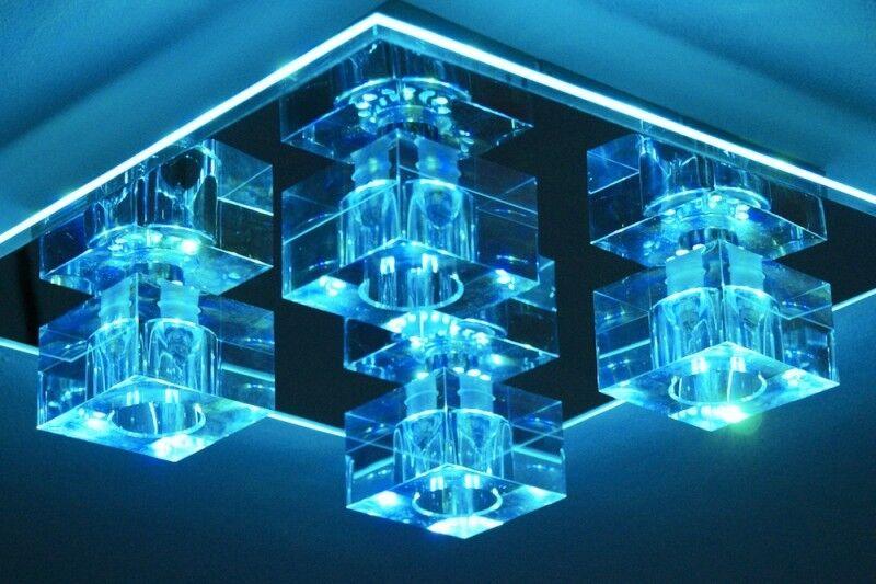 Plafonnier à LED Changeur de Farbe Lustre Lampe à suspension Métal Verre 45557
