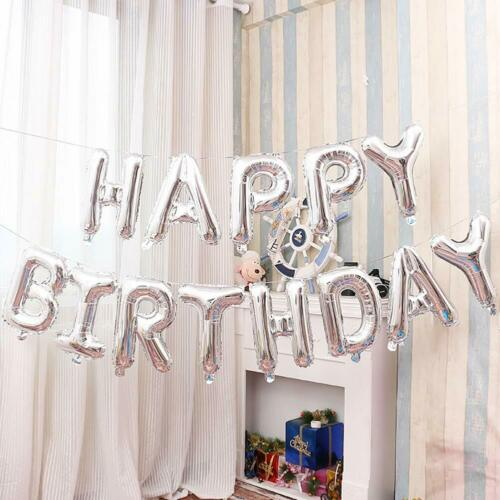 """16/"""" Happy Birthday Balloon Banner Rose Gold Silver Letter Foil Party Decoration"""