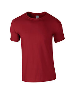 GILDAN-Softstyle-Plain-Mens-T-Shirt-100-cotone-Casual-Adulto-Top-Rosso-Cardinale