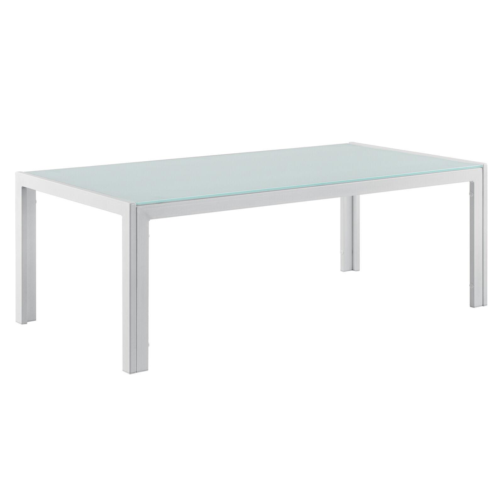 [CASA. Pro] ® tavolo da giardino 100x50x35 cm BIANCO VETRO TAVOLO TAVOLINO GIARDINO OUTDOOR