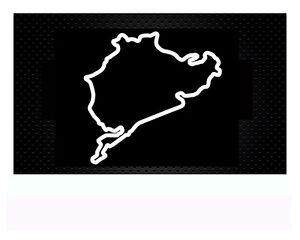 n rburgring nordschleife autoaufkleber sticker aufkleber 8x 8 2cm weiss matt ebay. Black Bedroom Furniture Sets. Home Design Ideas