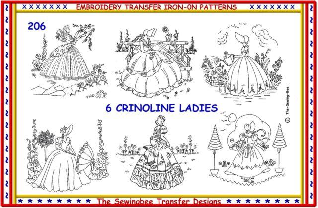 206 6 Crinoline Lady Ladies Embroidery Iron On Transfers Patterns