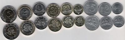 LITHUANIA SET 9 COINS 1-50 TENGE 1 2 5 LITAS BIMETALLIC 1991-2013 UNC