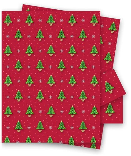 Christmas Tree Red Pixel GiftWrap 2 Sheets Of 70x50cm  Wrapping Paper Gaming