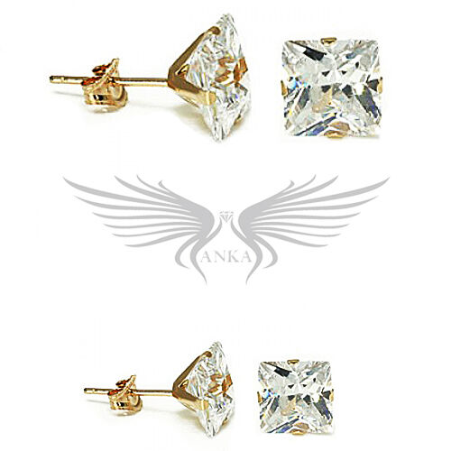 10kt Solid Gold Stud Earrings with AAA Grade Cubic Zircon CZ 10KTSQCZSTUDS