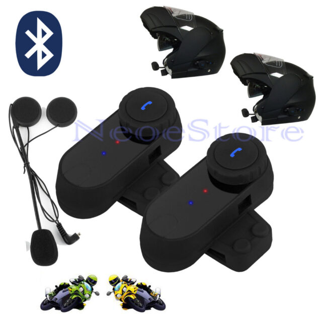 2 x 800M Interphone BT Bluetooth Motorbike Motorcycle Helmet Intercom+FM Headset