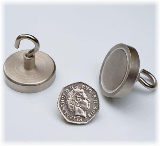 4 x Neo MAGNETIC HOOKS 36mm x 36.5mm, HEAVY DUTY Chrome Silver Hook - 52 kg Pull