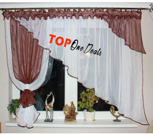 Voile Filet Rideaux Prêts design moderne salon salle à manger chambre à coucher NEUF