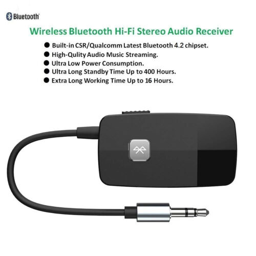Stereo System Wireless Bluetooth Receiver Audio Adapter for Home Streaming Car
