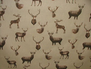 Mini Print Highland Stags Deer Country Side Linen Look Fabric Curtain Upholstery