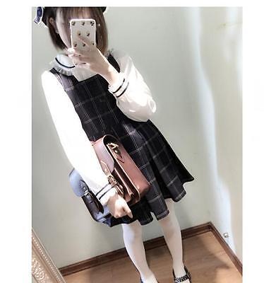 Vintage Cute Girls Lady  Check Pattern Lolita Vest Dress Preppy Style 2 Colors