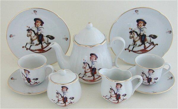 Reutter Childrens Large Porcelain Tea Set For 4 In Hamper 1920s