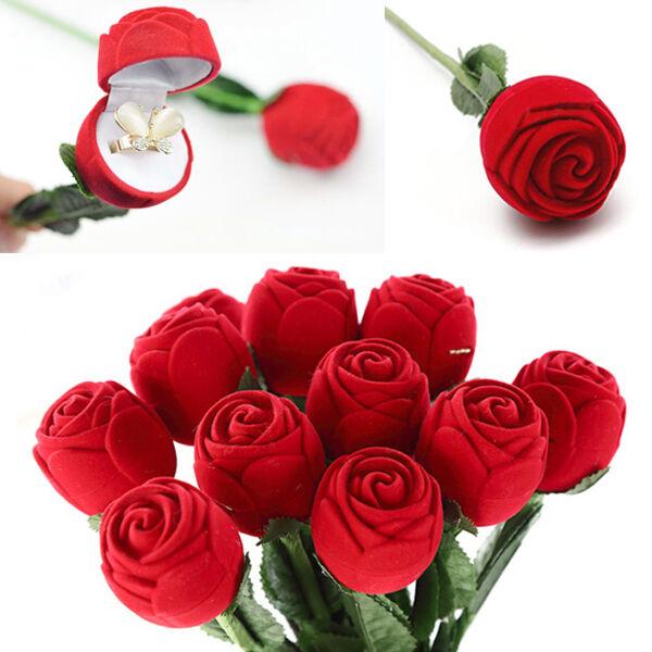 Ecrin pour Bague Boîte à Bijoux Forme de Rose Rouge Cadeau Mariage Anniversaire