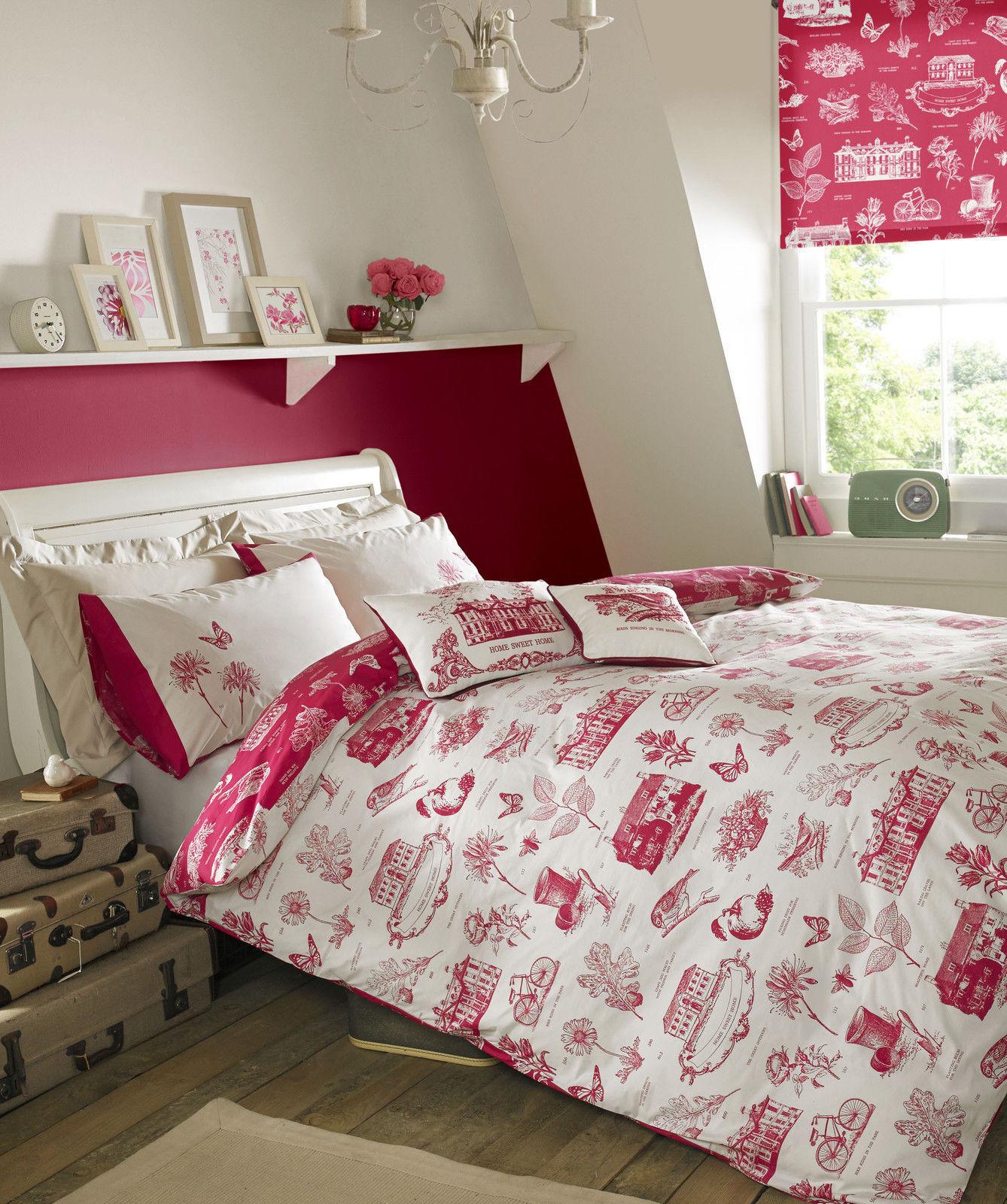 Harriet Raspberry Bedlinen by Kirstie Allsopp..Lowest Price + Free&Fast Delivery