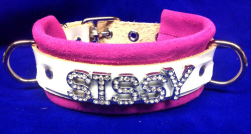 Suede Leather personalized Locking buckle choker collar custom made w// any word