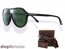 Tom Ford Edison Aviator Sunglasses Polished Black_Crystal Green FT 0443 01N 59