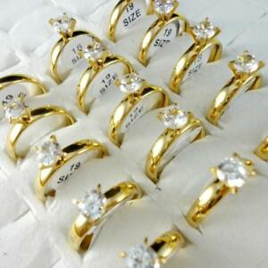 30pcs-Zircon-Smooth-Gold-Plated-Stainless-Steel-Rings-MIx-Lots-Wholesale-Jewelry