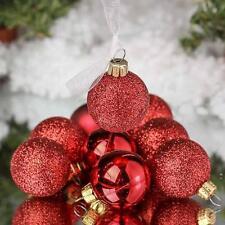 "Unido Box 24 Pack Christmas Ball Ornaments RED 3"" Inch Glitter Matte Glaze Set"