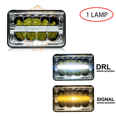 CO LIGHT 4pcs 4x6 Inch LED Headlights Hi//Lo Sealed Beam 80W Amber Halo Rectangular Replacement H4651 H4652 H4656 H4666 H6545 Compatible with Peterbilt Kenworth Freightinger Probe T001-YY-4pcs
