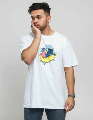 Pink Dolphin Mens Bathing White T-Shirt Clothing Apparel Wave Fun Skate Cool NWT