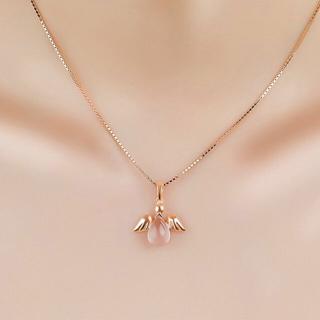 Opal Bright Chain Necklace Angel Shaped Pink Lotus Stone Rose Gold Plated c3353f94611d