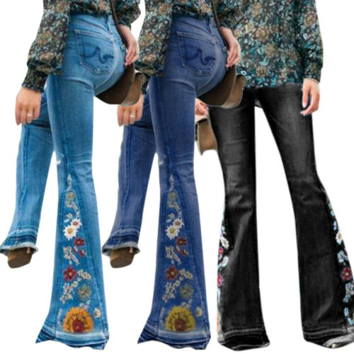 Womens Plus Size Bell Bottom Jeans Slim Denim Flare Stretch Casual Trouse Pants