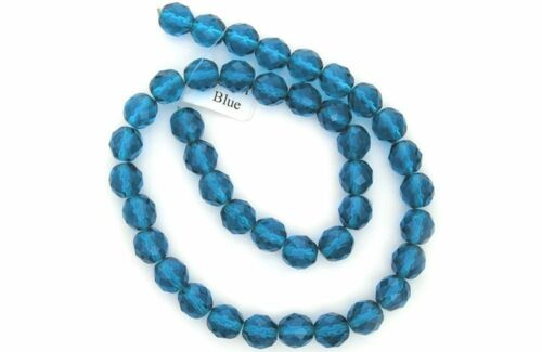 """Czech Fire Polished Round Faceted Glass Beads in Capri Blue color 16/"""" strand"""