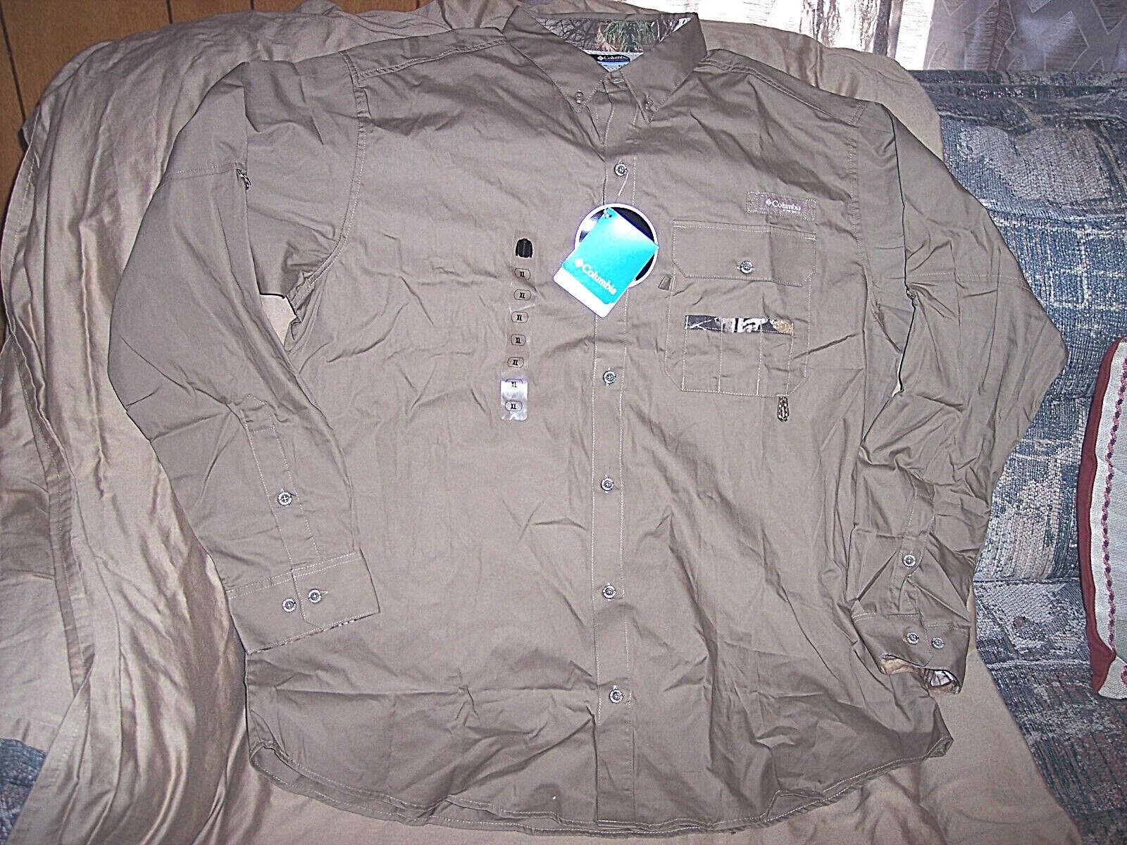 Columbia Fishing  Shirt PHG Khaki Shirt Mens 2X Shirt Dress Shirt Camo Shirt 2X  new sadie
