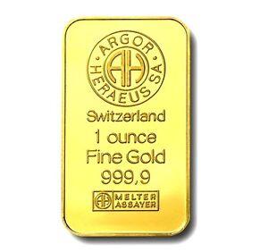 1-OZ-SWISS-ARGOR-HERAEUS-FINISHED-IN-999-24K-GOLD-BULLION-BAR-RARE-RRP-50