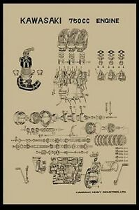 [DIAGRAM_4PO]  Vintage Kawasaki H2 750 Exploded Engine Motor Diagram Poster 2' x 3'  Reprint | eBay | Vintage Engine Diagram |  | eBay