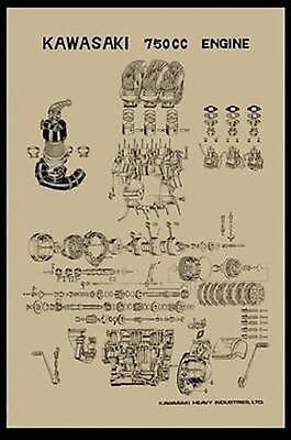 Vintage Kawasaki H2 750 Exploded Engine Motor Diagram Poster 2' x 3'  Reprint | eBayeBay