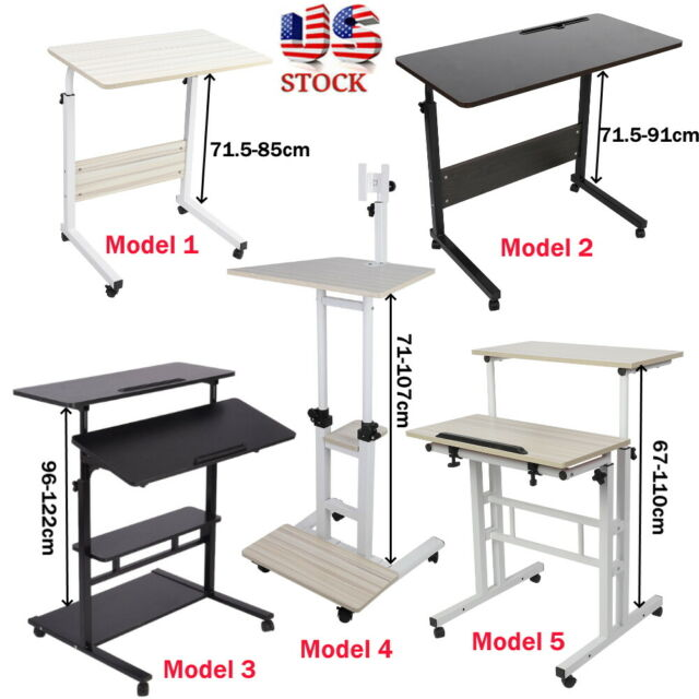 Adjustable Height Stand Up Desk Computer Workstation Lift Rising Laptop w// Wheel