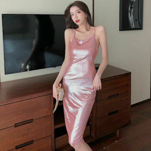 Details about  /Womens Shiny Slip Dresses Halter Bodycon Sleeveless Party Club Evening Gown Midi