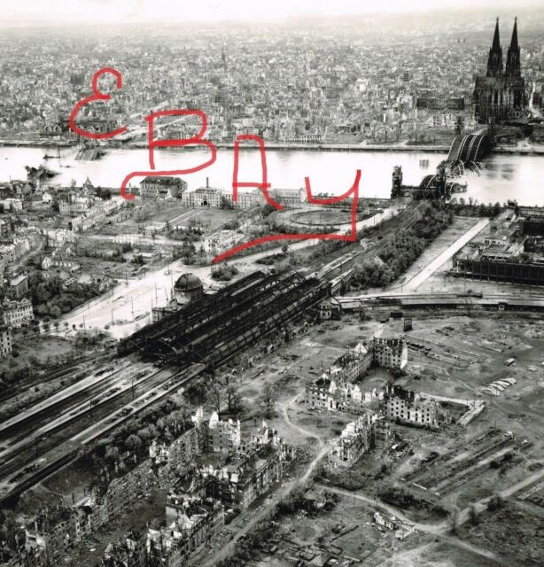 WWII 8X10 AERIAL RECON PHOTO 8TH USAAF DESTRUCTION OF COLOGNE GERMANY BRIDGES