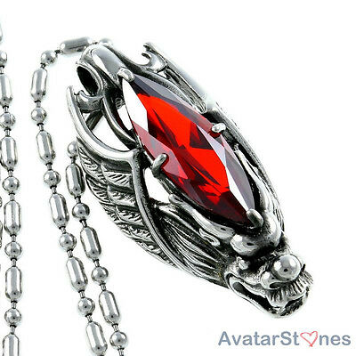 Men's 316L Stainless Steel Wing Dragon Pendant Red Stone Necklace Chain P4V73BC