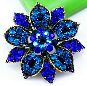 Luxurious-DEEP-Blues-ORNATE-Flower-3D-Lotus-Rhinestone-Gold-Retro-Vintage-Brooch