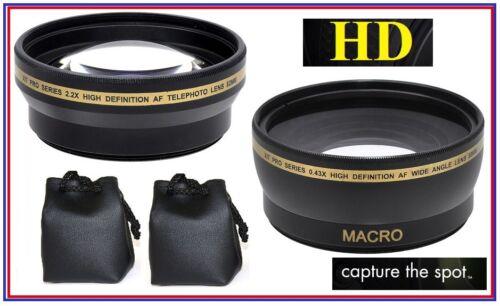 2-Pcs Lens Pro HD Lens Telephoto + Wide Angle Set for Panasonic Lumix DMC-FZ1000