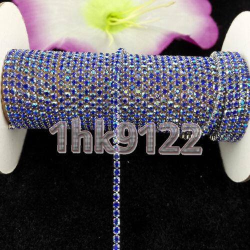 Sapphire Blue Ab Crystal Glass Rhinestone Chain Compact Close Silver Chain Sew