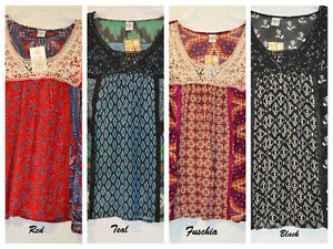 Women-039-s-Bila-Peasant-Woven-Boho-3-4-Sleeve-Top-Asst-Colors-Size-L-XL-XXL