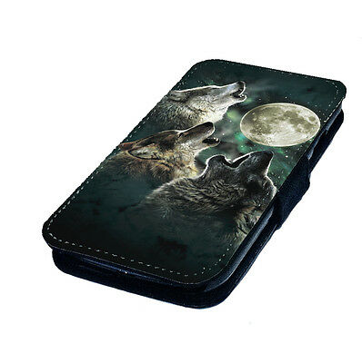 3 Wolf Moon Printed Faux Leather Flip Phone Cover Case