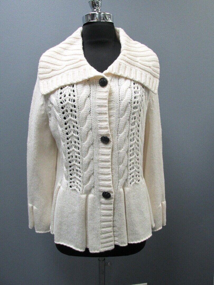 ST JOHN Ivory Wool Collar Long Sleeve 3 Button Pleated Hem Sweater Sz L GG5265