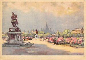 Rare-Vintage-Art-Postcard-Vienna-Wien-Heldenplatz-Austria-by-Karl-Schwetz-54P